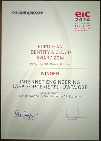 EIC 2014 Award Certificate