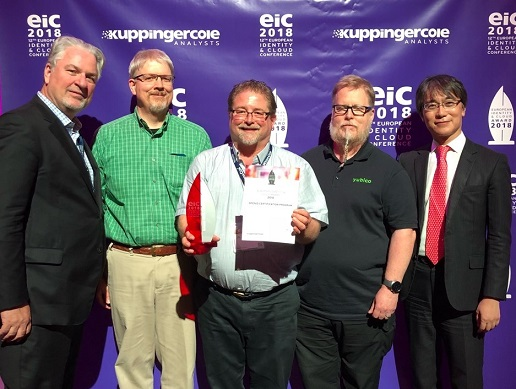 EIC 2018 Award Don Thibeau, George Fletcher, Mike Jones, John Bradley, Nat Sakimura