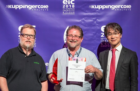 EIC 2018 Award John Bradley, Mike Jones, Nat Sakimura