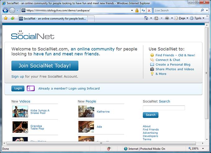 SocialNet login page