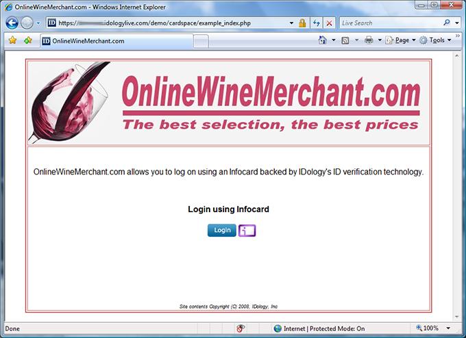 OnlineWineMerchant login page