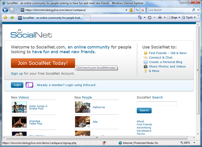 SocialNet start page