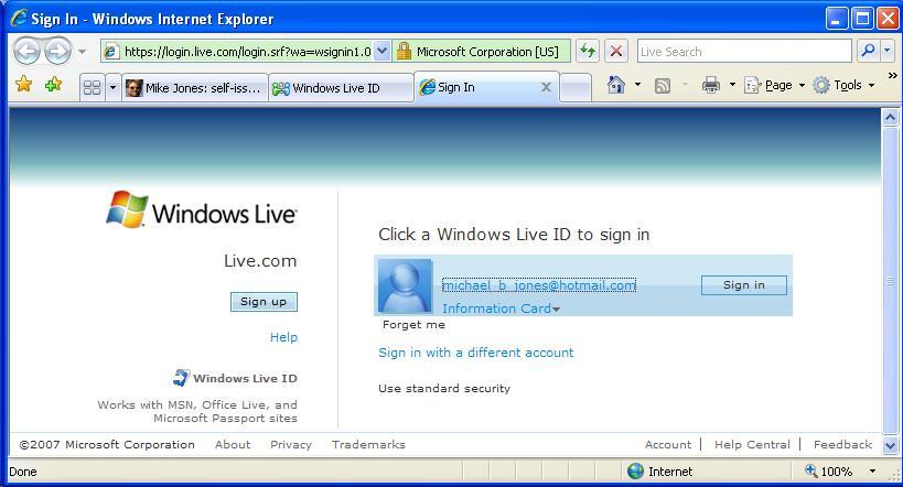 LiveID InfoCard login page