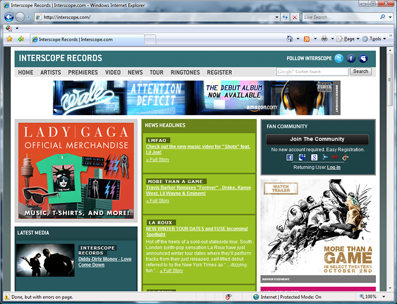 Interscope homepage