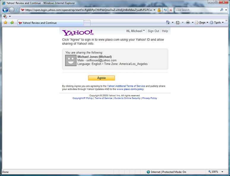 Yahoo Plaxo permission