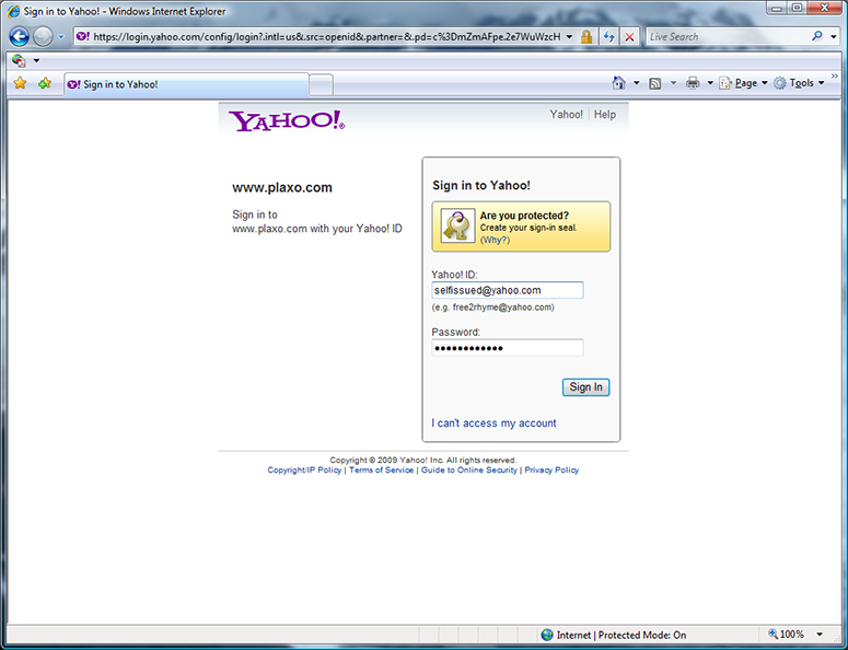 Yahoo Plaxo signin