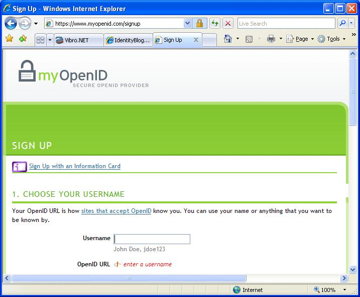 MyOpenID.com signup with Information Card